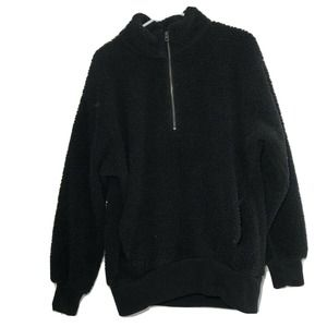 American Eagle Fleece Sweater Black Women's Medium
